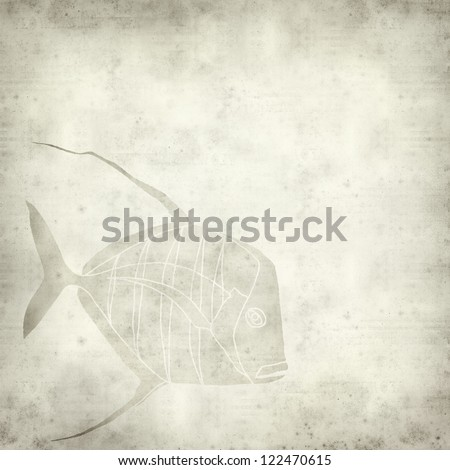 textured old paper background with hand-drawn picture of exotic fish