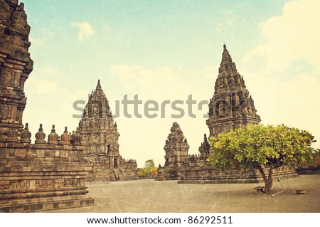 textured old photo of Hinduism Prambanan temple