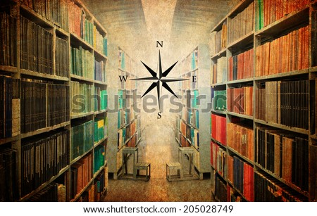 Textured old vintage paper style background with old library and wind rose