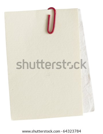 textured paper notes with red clip
