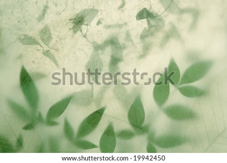 textured paper partially obscures heavenly bamboo leaves over handmade paper