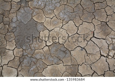 Textured pattern of cracked and wet brown earth