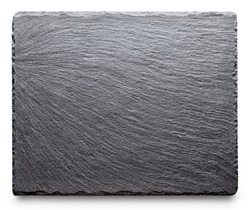 Textured slate board for dishes isolated on white background