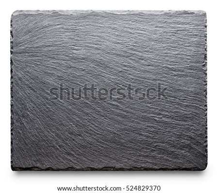 Textured slate board for dishes isolated on white background #524829370