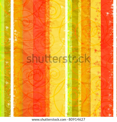 Textured striped crumpled floral  paper backgroun