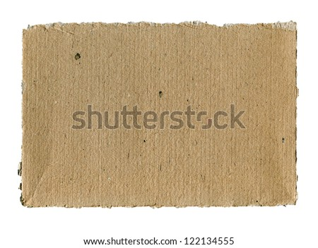 Textured striped rough cardboard with torn edges isolated over white
