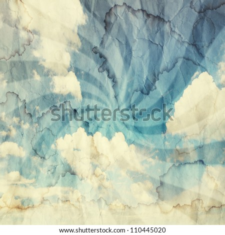 Textured vintage cloudy sky background. Sky with old paper texture