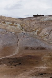 Textures and colors in Hverir, geothermal area famous for its boiling mud pools and its sulfuric gas fumaroles.