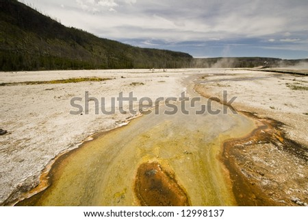 Textures of hot spring in Yellowstone National Park