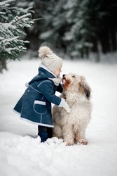 th girl in a blue winter coat is hugging the dog in snowy winter forest