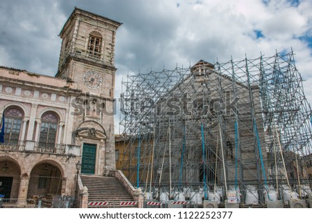 Tha main square of Norcia destroyed by terrific earthquake of central Italy