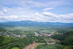 Tha Ton Thailand, view from Wat Tha Ton over the village of Tha Ton and the Kok River.