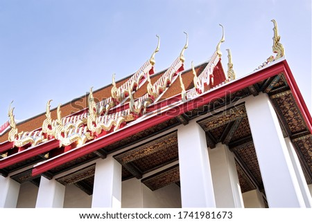 Thai architecture in Thailand's temples are beautiful and impressive by visitors. Rooftop decoration and painting known as Thai art have their long history for thousand of years.
