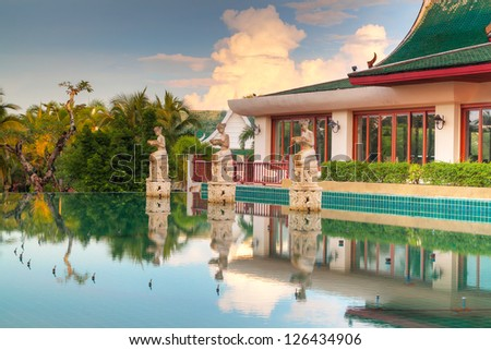 Thai architecture reflected in water