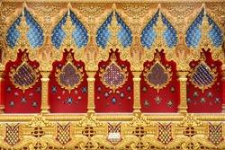 Thai art decorated inside pagoda at Wat Phramahajedi Chaiyamongkol Roi Et in the east of Thailand