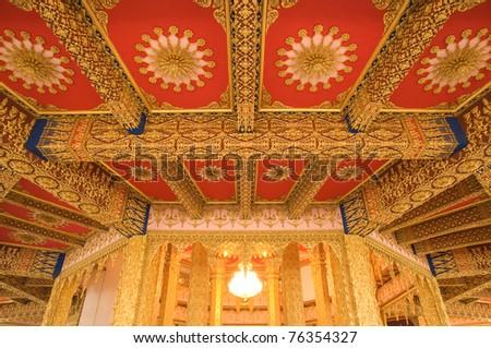 Thai art decorated inside pagoda at Wat Phramahajedi Chaiyamongkol Roi Et province Thailand