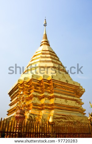 Thai art golden Pagoda in Chiang Mai of Thailand.