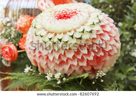 Thai art of watermelon carved into flower shapes