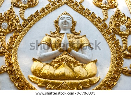 Thai art style on wall, take photo from temple in Ubon Ratchathani, Thailand
