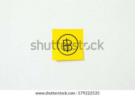 Free Photos Thai Baht Currency Symbol On Yellow Sticky Note Paper On