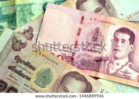 Thai baht various banknotes closeup. Money background #1446889946