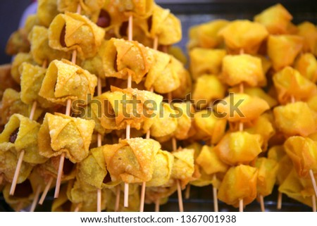 Thai barbecue skewers, Thai food at a market in Krabi, Thailand, Southeast Asia, Asia