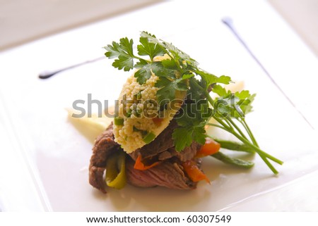 Thai Beef Salad with Cous Cous and a Balsamic Reduction