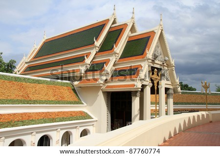 Thai buddhist temple near stupa Chedi Phra Pathom in Thailand