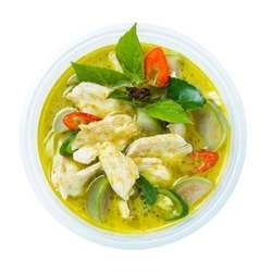 Thai chicken green curry isolated on white background