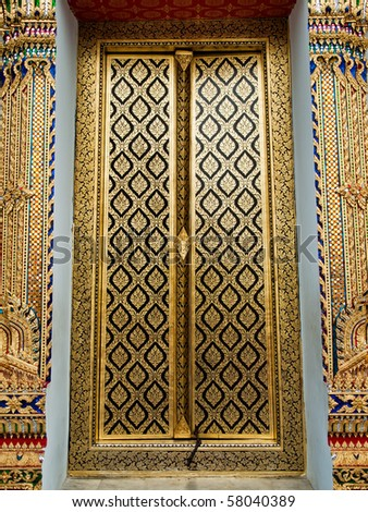 thai church close door with gold painting