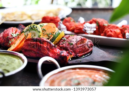 Thai cuisine, aromatic curry dishes. Colorful dishes.