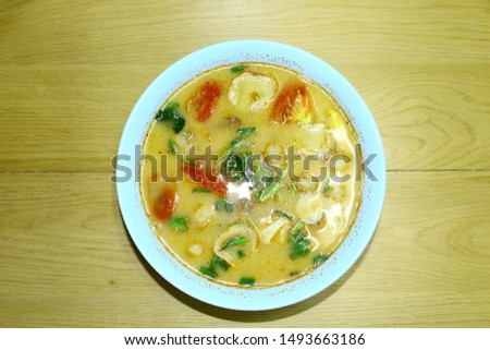 Thai cuisine is the national cuisine of Thailand. prawn spicy soup (Tom yum koong)