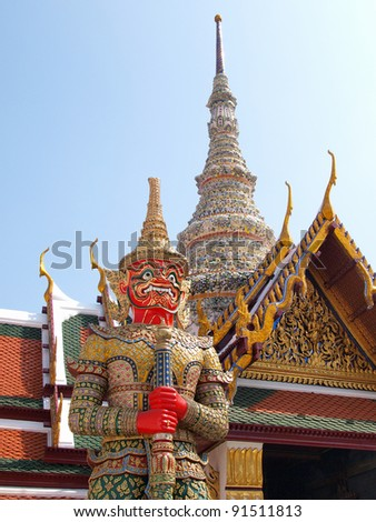 Thai Demon in Grand Palace , Bangkok Thailand