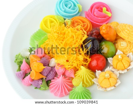 thai dessert on white background