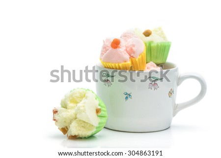 Thai dessert, thai steamed cup cake or cotton cake in cup