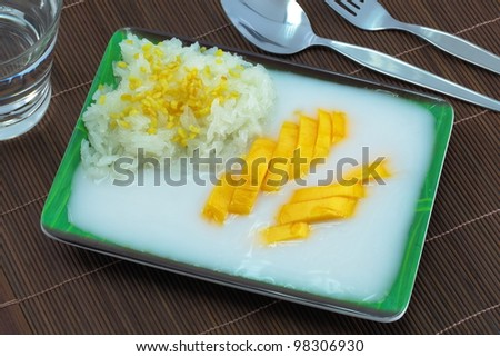 Thai desserts name Mango sticky rice.
