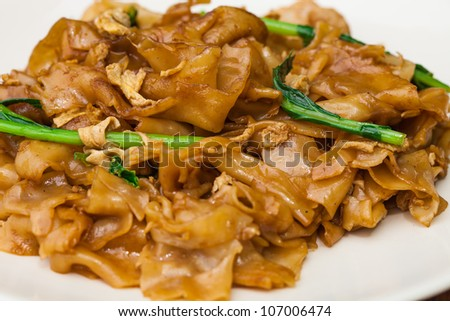 Thai dish - fried noodle  with meat