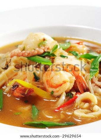 Thai Dishes - Seafood with Lemon Sorgho and Scallop - stock photo