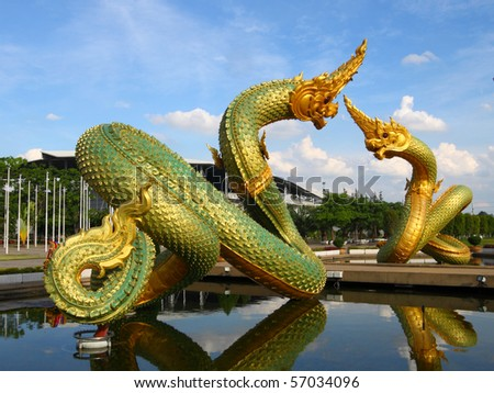 Thai dragon or king of Naga statue in thommasart university, Thailand