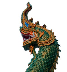 Thai dragon or Naga isolated on white background with clipping path. King of Naga statue in the temple of Thailand.