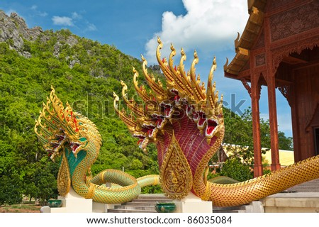 Thai dragon statue at Wat Ao Noi Prachuap Khiri Khan province Thailand