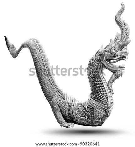 Thai dragon statue isolate on the white background