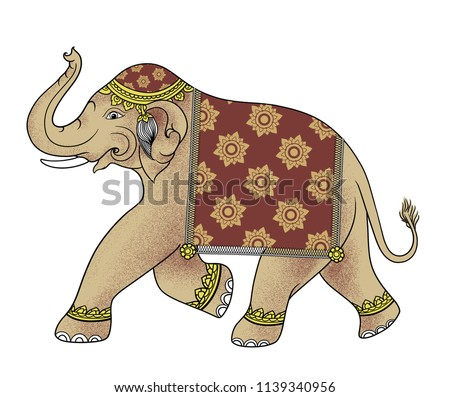 Thai Elephant Drawing,traditional style in Thailand.