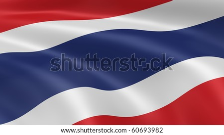 Thai flag in the wind. Part of a series. - stock photo