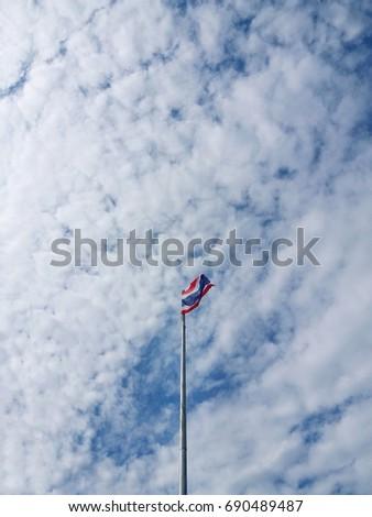 Thai flag pole, sky background #690489487