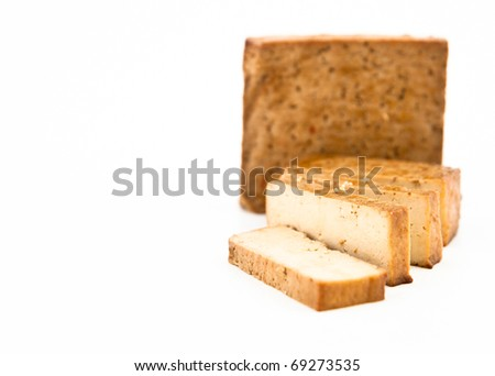 Thai Flavored Tofu Blocks on White Background