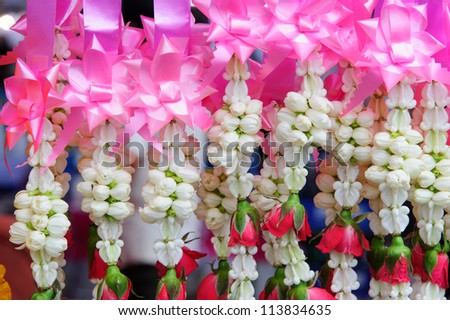 Thai Flower Garland in market