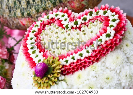 Thai flower heart shaped garland