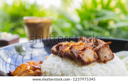 Thai Food Fried Pork with Garlic with Cucumber and Chocolate Brownie Cake and Latte Coffee Right. Fried pork with garlic steak on rice in food and drink category