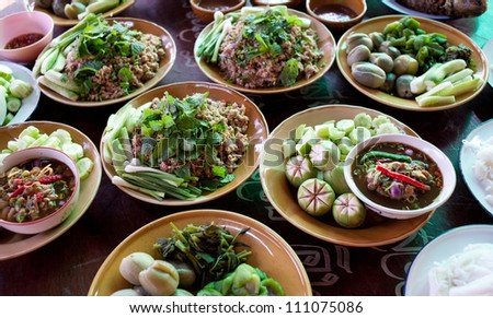 thai food in thai wedding party